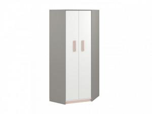 Iq 01 (Corner Dulap pentru haine) Grey Platinum/White/Bright Pink