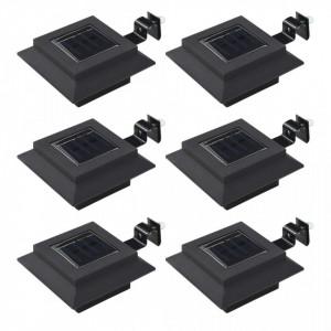 Lămpi solare de exterior cu LED, 6 buc, negru, 12 cm, pătrat