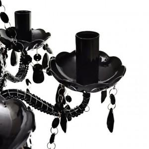 Lustră Cristal Artificial pentru 5 becuri Negru