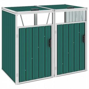 Magazie pubele dublă, verde, 143 x 81 x 121 cm, oțel