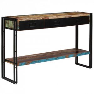 Masă consolă, lemn masiv reciclat, 120x30x76 cm