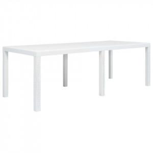 Masă de grădină, albă, 220x90x72 cm, plastic, aspect ratan