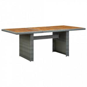 Masă de grădină, gri deschis, poliratan și lemn masiv de acacia