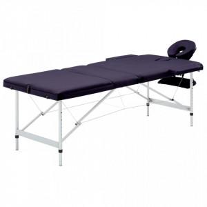 Masă de masaj pliabilă cu 3 zone, violet, aluminiu