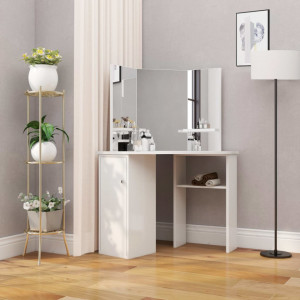 Masă de toaletă colțar, masă pentru machiaj și cosmetice, alb