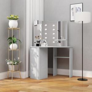 Masă de toaletă de colț, cu LED, gri beton, 111x54x141,5 cm