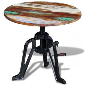 Masă laterală din lemn reciclat solid, cadru fier, 60x(42-63)cm