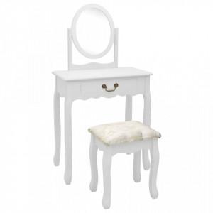 Masă toaletă cu taburet, alb, 65x36x128 cm, lemn paulownia, MDF