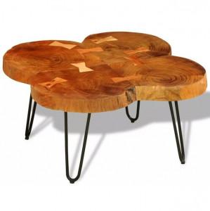 Măsuță de cafea, 35 cm, 4 butuci, lemn masiv de sheesham
