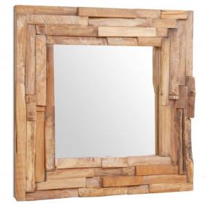 Oglindă decorativă din lemn de tec, 60 x 60 cm, pătrat