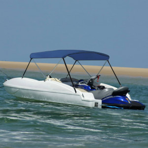 Parasolar barcă Bimini cu 2 arcuri, bleumarin, 180x130x110 cm