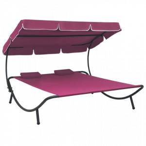 Pat șezlong de exterior cu baldachin și perne, roz