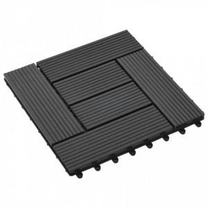 Plăci de pardoseală, 22 buc., negru, 30 x 30 cm, WPC, 2 mp