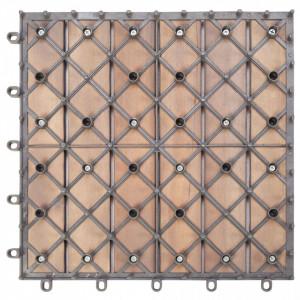 Plăci pardoseală, 20 buc., gri, 30x30 cm, lemn masiv de acacia