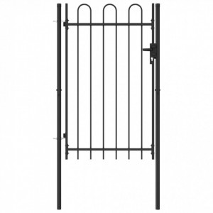 Poartă de gard cu o ușă, vârf arcuit, negru, 1 x 1,5 m, oțel