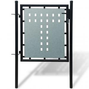 Poartă pentru gard simplă, negru, 100 x 125 cm