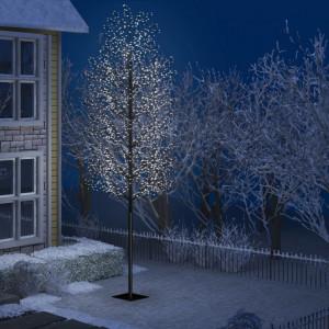 Pom Crăciun, 2000 LED-uri alb rece, flori de cireș, 500 cm