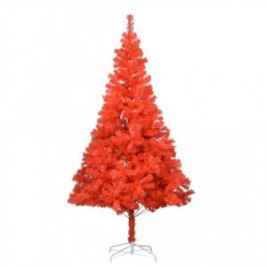 Pom de Crăciun artificial cu suport, roșu, 210 cm, PVC