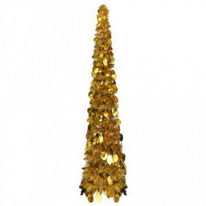 Pom de Crăciun artificial tip pop-up, auriu, 120 cm, PET