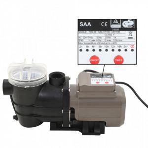 Pompă de piscină cu temporizator, negru, 0,25 CP, 8000 L/h