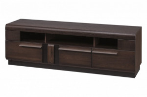 Porti 25 (comoda tv 3 s) oak czecoladowy/black glass