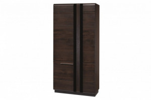 Porti 70 (dulap 2d) oak czecoladowy/black glass