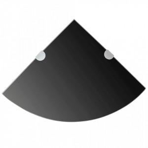 Rafturi de colț cu suporturi crom 2 buc. negru 35x35 cm sticlă