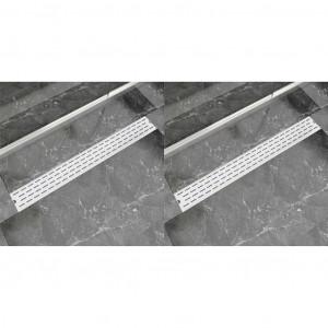 Rigolă liniară duș, 2 buc., 930x140 mm, oțel inoxidabil, linii