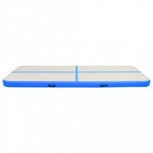 Saltea gimnastică gonflabilă cu pompă albastru 300x100x15cm PVC