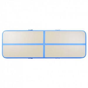 Saltea gimnastică gonflabilă cu pompă albastru 500x100x10cm PVC