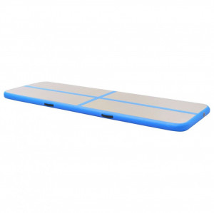 Saltea gimnastică gonflabilă cu pompă albastru 600x100x10cm PVC