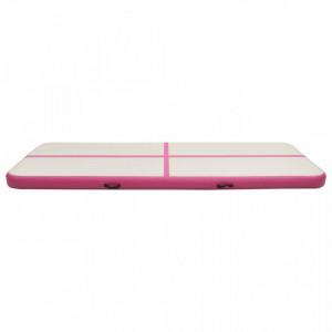 Saltea gimnastică gonflabilă cu pompă roz 400x100x20 cm PVC