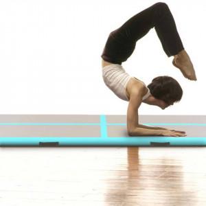 Saltea gimnastică gonflabilă cu pompă verde 400x100x10cm PVC