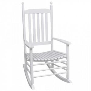 Scaun balansoar cu șezut curbat, alb, lemn