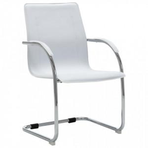 Scaun de birou tip consolă, alb, piele ecologică