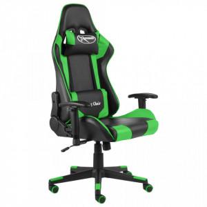 Scaun de jocuri pivotant, verde, PVC