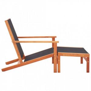 Scaun grădină cu taburet, lemn masiv de eucalipt & textilenă