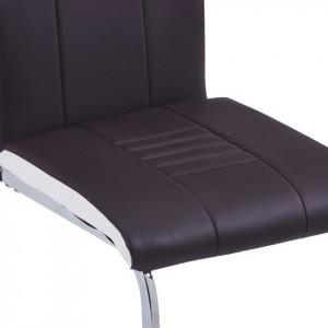 Scaune de sufragerie, 4 buc., maro, piele ecologică