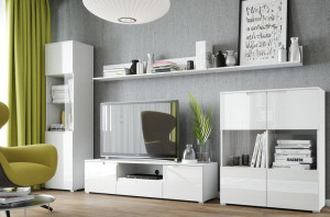 Selene 23 (rafturi de perete short) white high gloss/white