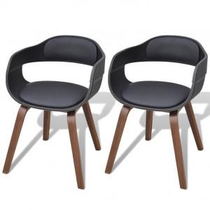 Set 2 scaune de bucătărie curbate cu tapițerie din piele artificială
