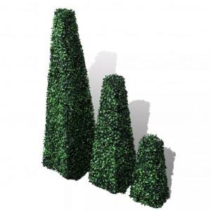 Set arbuști ornamentali artificiali piramidă pe tulpină, 3 buc.