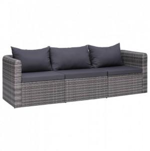 Set canapea de grădină cu perne, 3 piese, gri, poliratan