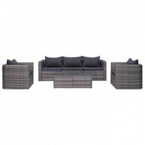 Set canapea de grădină cu perne, 6 piese, gri, poliratan