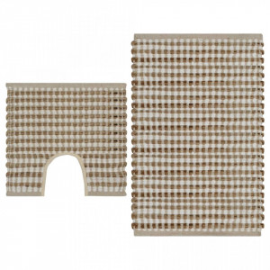 Set covoraș de baie lucrat manual, natural și alb, iută textil
