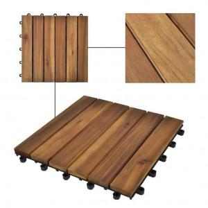 Set de 10 plăci din acacia 30 x 30 cm, model vertical
