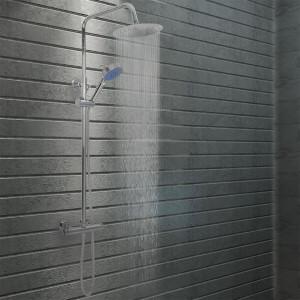 Set de duș cu două capete, cu termostat, oțel inoxidabil