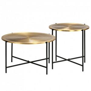 Set de masă, 2 piese, MDF cu alamă