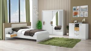 Set Dormitor Domino, Alb, Dulap 200 cm, Pat 160x200 cm, 2 noptiere, comoda
