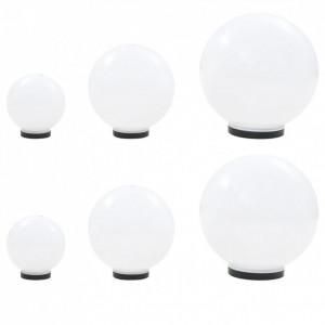 Set lămpi glob cu LED, 6 buc., 20/30/40 cm, PMMA, sferic