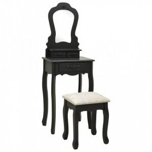 Set masă de toaletă cu taburet negru 50x59x136 cm paulownia